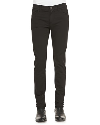 Garment Dyed Stretch-Twill Pants, Black