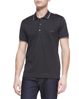 Dolce & Gabbana Tipped Jersey-Knit Polo, Charcoal