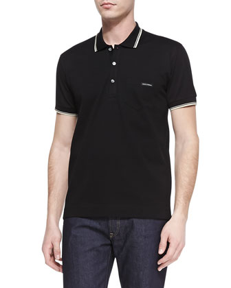 Tipped Jersey-Knit Polo, Black