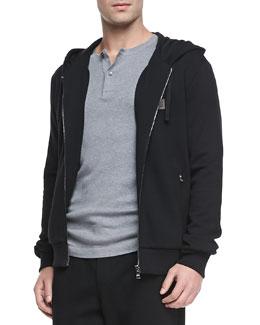 Dolce & Gabbana Zip-Front Hoodie, Black