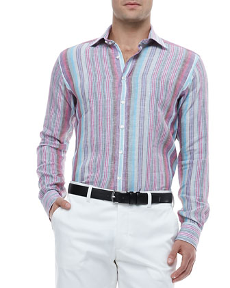 Multi-Striped Linen Shirt
