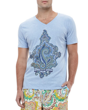 Paisley Graphic Tee, Light Blue