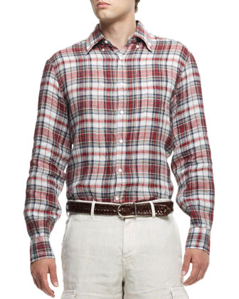 Plaid Linen Shirt, Multi