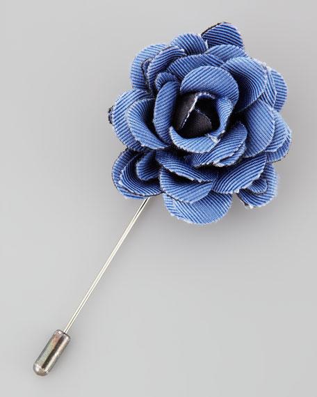 Faille Rose Lapel Pin, Blue