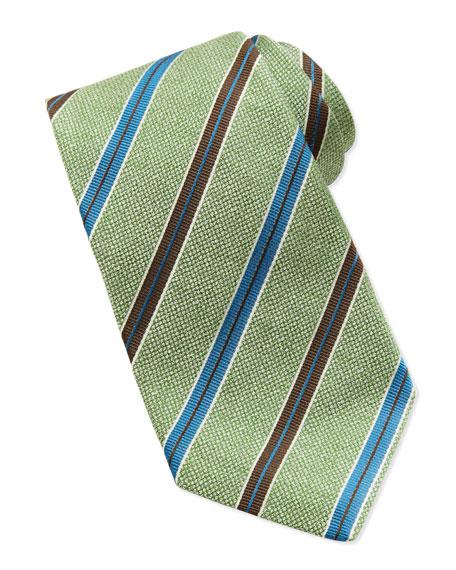 Melange Grosgrain-Stripe Tie, Green