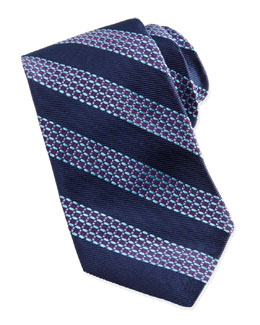 Robert Graham Beaded Stripe Jacquard Tie, Navy/Aqua