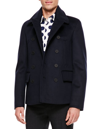 Cashmere Pea Coat, Navy