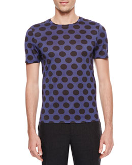 Burberry Prorsum Polka-Dot Crewneck Short-Sleeve T-Shirt, Indigo/Black