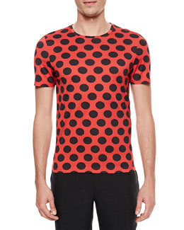 Burberry Prorsum Polka-Dot Crewneck Short-Sleeve T-Shirt, Red