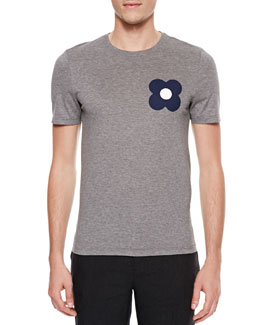 Burberry Prorsum Flower-Print Short-Sleeve T-Shirt, Gray