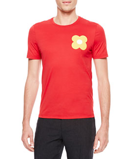Burberry Prorsum Flower-Print Short-Sleeve T-Shirt, Red