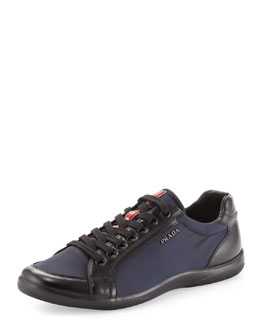 Prada Nylon & Leather Sneaker, Blue