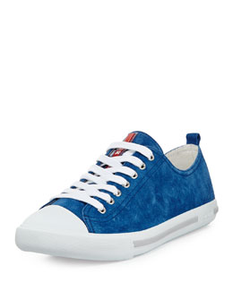 Prada Suede Cap-Toe Sneakers, Blue