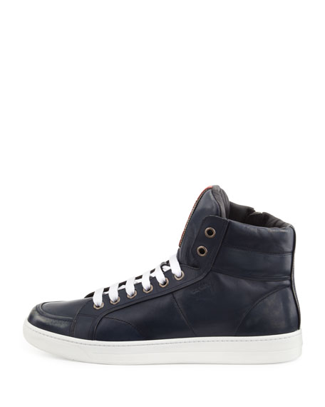 Avenue Distressed Hi-Top Sneaker, Navy