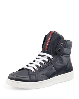 Prada Avenue Distressed Hi-Top Sneaker, Navy
