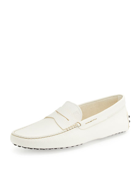 Pebbled Leather Penny Driver, White