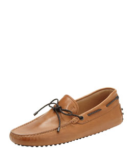 Tod's Leather Braided-Tie Driver, Light Brown