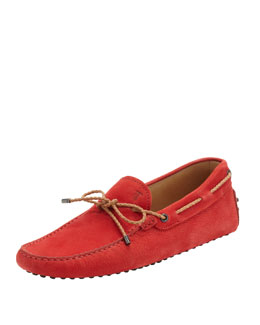 Tod's Nubuck Braided-Tie Driver, Red