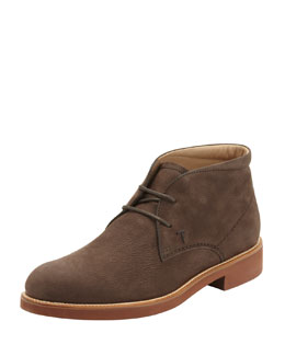 Tod's Nubuck Contrast-Sole Desert Boot, Brown