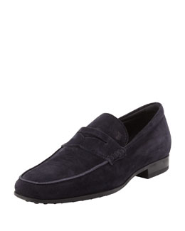 Tod's Men's Driver-Sole Suede Penny Loafer, Navy