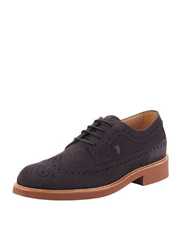 Tod's Men's Lace-Up Suede Wing-Tip, Navy