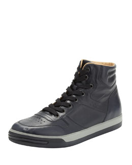 Tod's Leather High-Top Sneaker, Navy