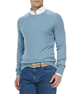 Loro Piana Westport Cashmere Crewneck Sweater, Sky Light