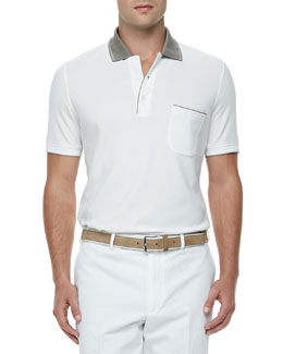 Regatta Contrast-Collar Polo, White/Khaki