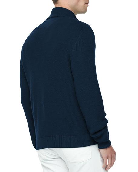 Mouline Cashmere/Silk Bomber Jacket, Navy