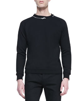 Zipper-Neck Sweatshirt, Black