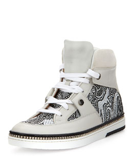 Jimmy Choo Barlowe Men's Embroidered High-Top Sneaker, White/Black