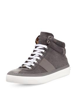 Jimmy Choo Belgravia Glitter-Suede Hi-Top Sneaker, Green