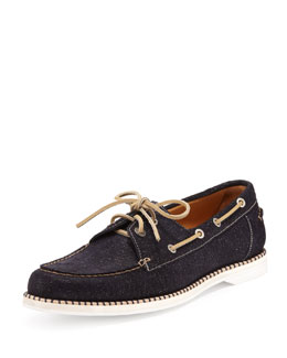 Jimmy Choo Danby Men's Glitter-Suede Boat Shoe, Navy