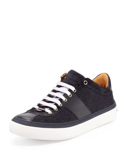 Jimmy Choo Portman Men's Glitter-Suede Low-Top Sneaker, Navy