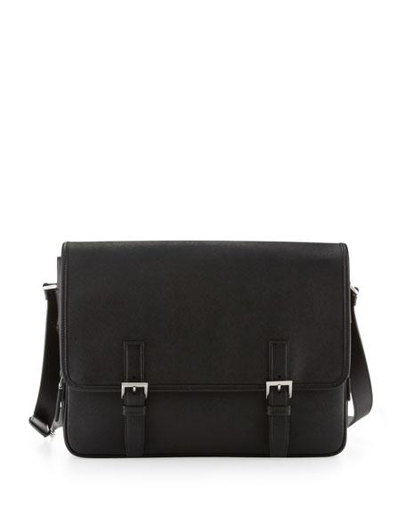 e7c4f409d0b3d8 Prada Men's Saffiano Leather Messenger Bag, Black