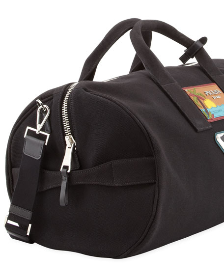 Men's Beach Plaque Canvas Duffel Bag, Black