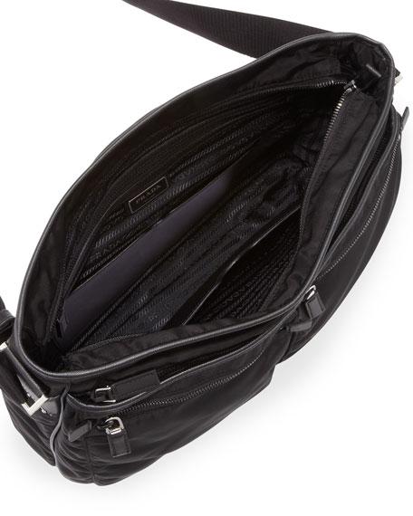 b1489d6251ae Prada Men's Nylon Multi-Pocket Zip Messenger Bag, Black