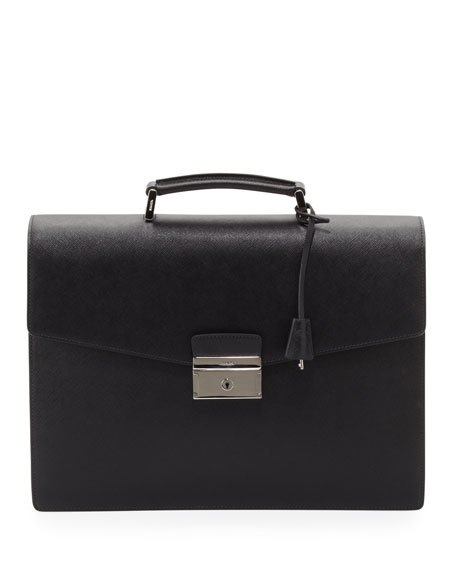 Saffiano Double-Gusset Briefcase