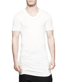 Rick Owens Basic Short-Sleeve Silk V-Neck Tee, Milk
