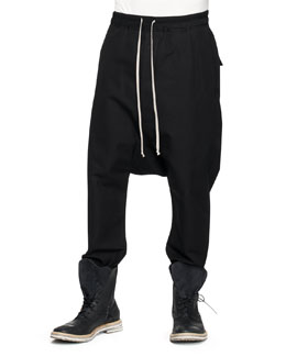 Rick Owens Drawstring Swaggers Drop-Inseam Pants, Black