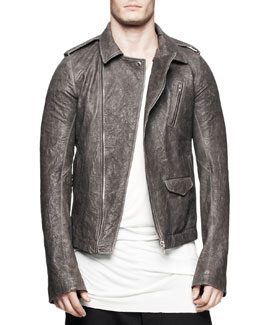 Rick Owens Asymmetric Leather Bikers Jacket, Dark Dust