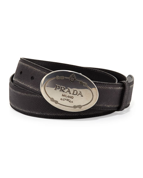 Saffiano logo belt - Black Prada Abp9vtpqx