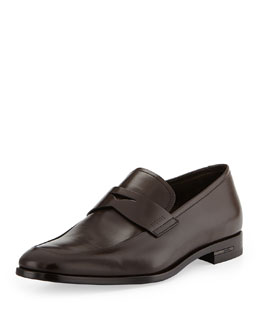 Prada Smooth-Leather Penny Loafer, Brown