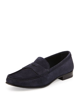 Prada Suede Penny Loafer, Blue