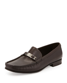 Prada Calfskin Logo-Plaque Loafer, Brown