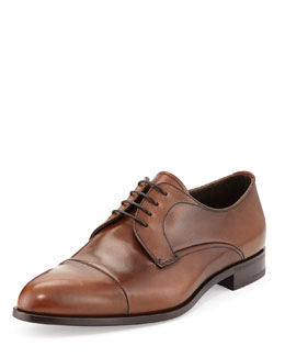 Prada Calfskin Cap-Toe Lace-Up, Cognac