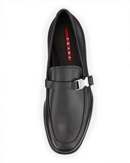 Buckled Leather Loafer, Black
