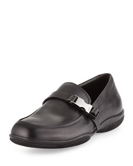 Prada Buckled Leather Loafer, Black