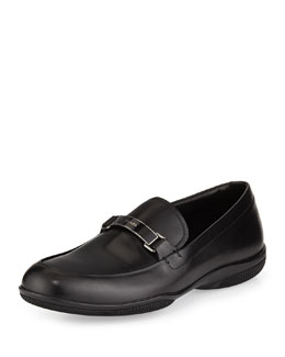 Prada Plaque-Strap Calfskin Loafer