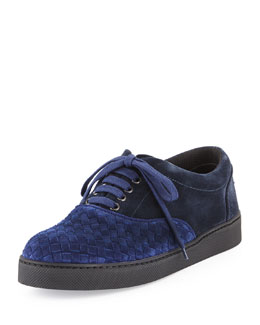 Bottega Veneta Suede Woven Low-Top Sneaker, Blue Multi